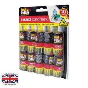 10 Collant Papier Fly Catchers No Émanations No Mess Ruban Attraper Insectes Safe Home Patio-afficher Le Titre D'origine Facile Et Simple à Manipuler