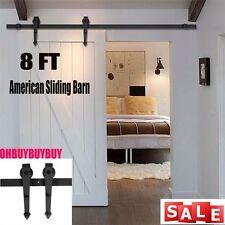 Beau 5 16FT DOUBLE Rustic Sliding Barn Door Hardware Wood Closet Roller Track  Kit J0