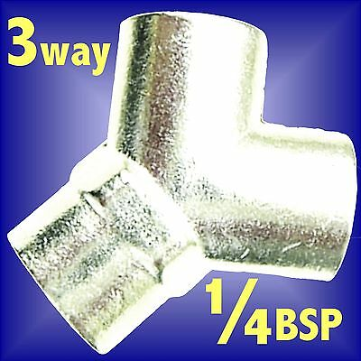 AIR LINE 3 WAY Y CONNECTOR hose airline 1/4 BSP splitter fitting manifold joint