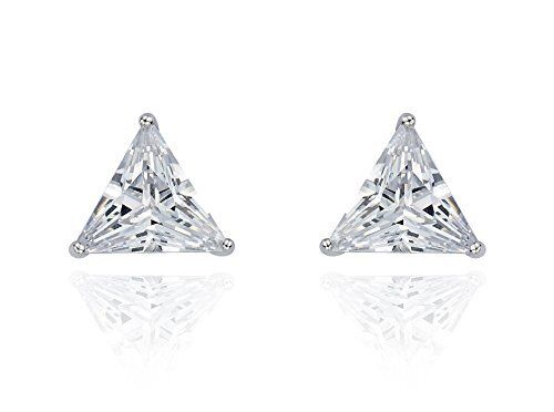 2 Ct Diamond Stud Earrings Triangle Cut Solitaire Stud Earrings 14K White Gold