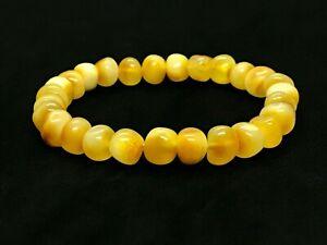 AMBER-BRACELET-Natural-BALTIC-AMBER-Yellow-Honey-Butter-Beads-Ladies-7-6g-12556