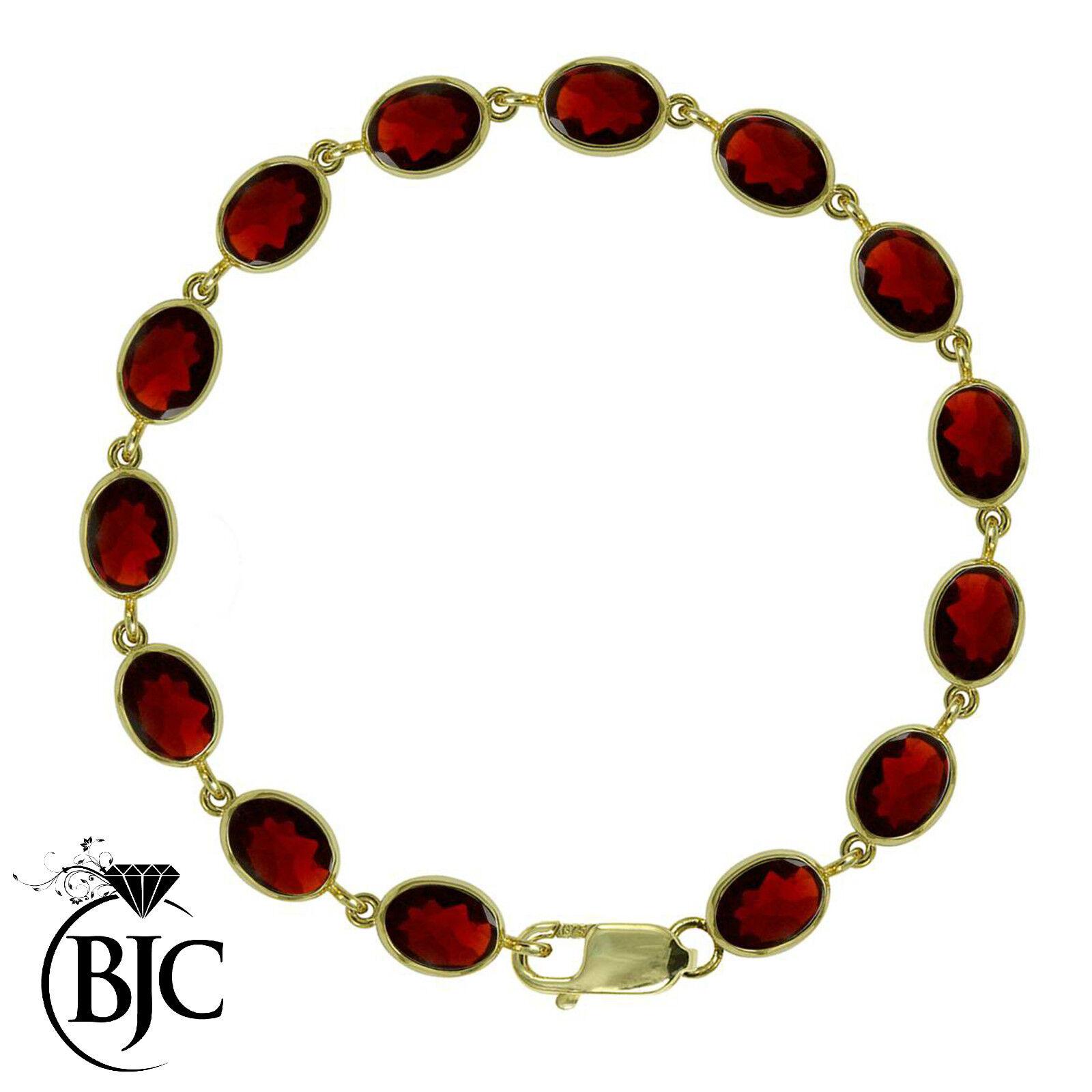 BJC® 9ct Yellow gold Natural Garnet 21.00ct Oval Gemstone Tennis Bracelet 7.5