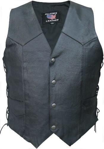 50/% OFF SALE AL2201 Men/'s Side Lace Premium Goat Skin Leather Vests Full Liner
