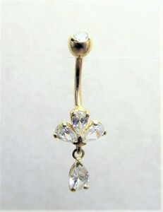 nickel free 14kt Solid Yellow Gold Belly Ring With Black and White cz/'s