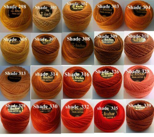 10 Anchor hilo de algodón de ganchillo Bordada Perla Bolas en cada colorUK Post