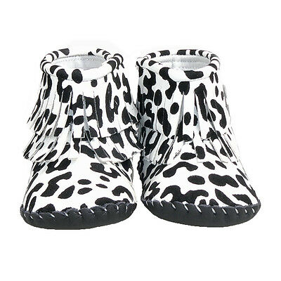 Girls Toddler - REAL Leather Soft Sole Baby Boots - White / Black