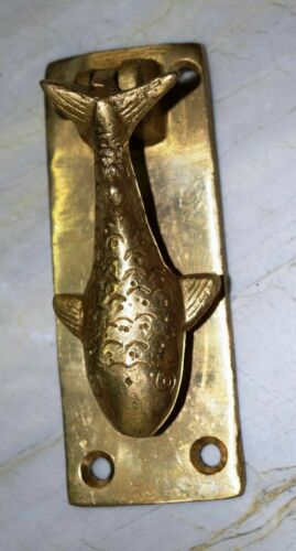Golden Nautical Fish Shape Door Knocker Solid Brass Restaurant Home Bar Dec CJ41