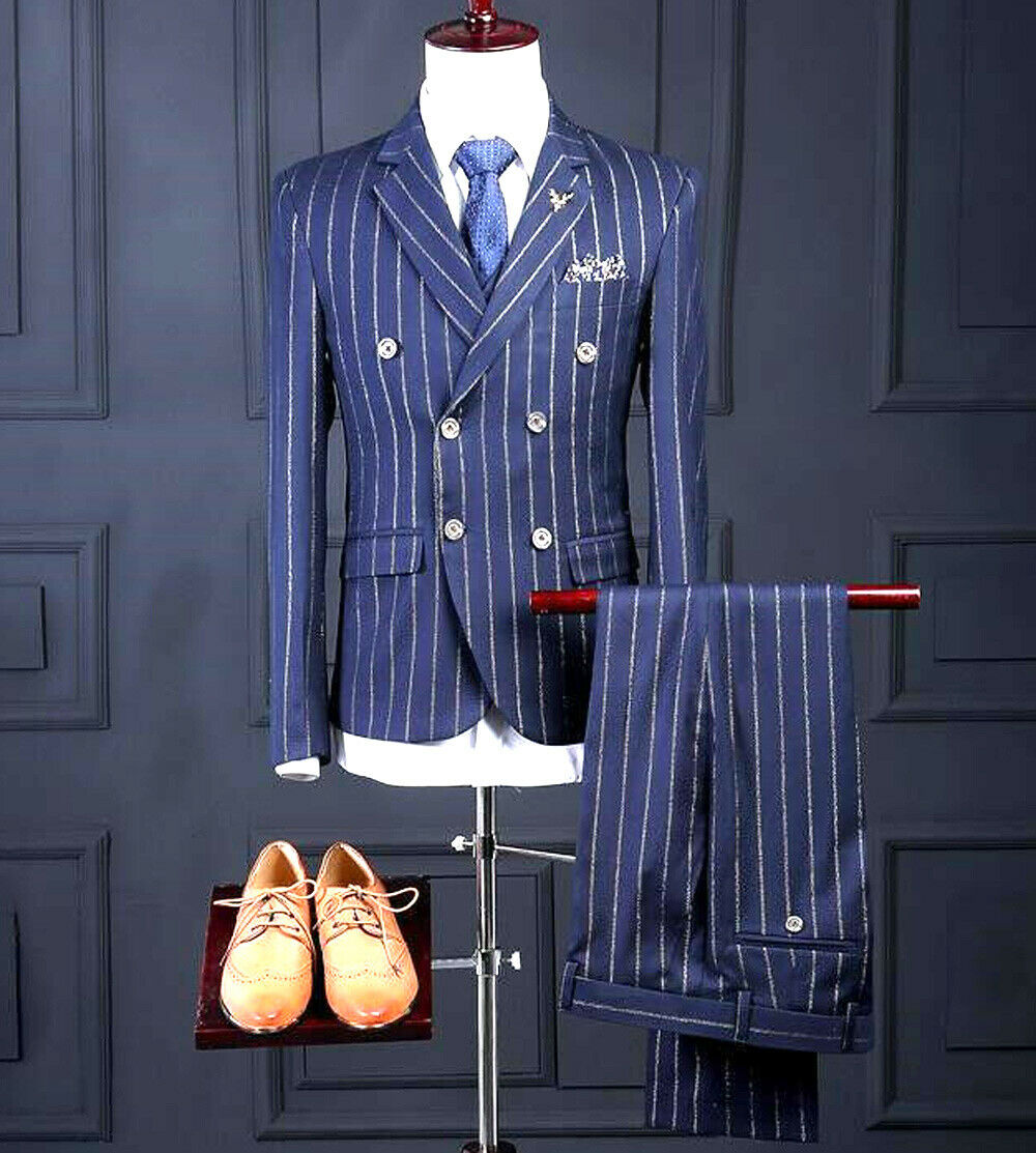 gold Striped Men's bluee Pieces Groom Wear Tuxedos Formal Business Wedding Suits
