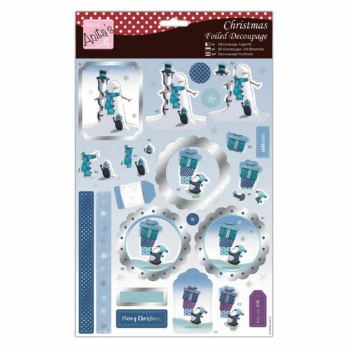 Do-Crafts Anita Christmas Foiled Decoupage-Chilly Penguins for cards//craft
