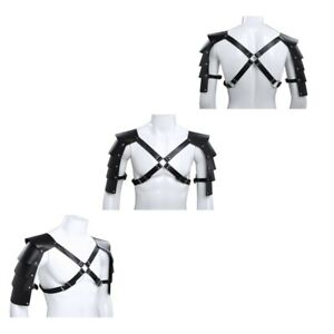 US-Mens-Faux-Leather-Adjustable-Buckle-Shoulder-Strap-Chest-Harness-Armor-Tights