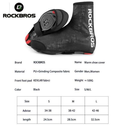 ROCKBROS Cycling Shoe Covers Winter Warm Windproof PU Protector Overshoes Black
