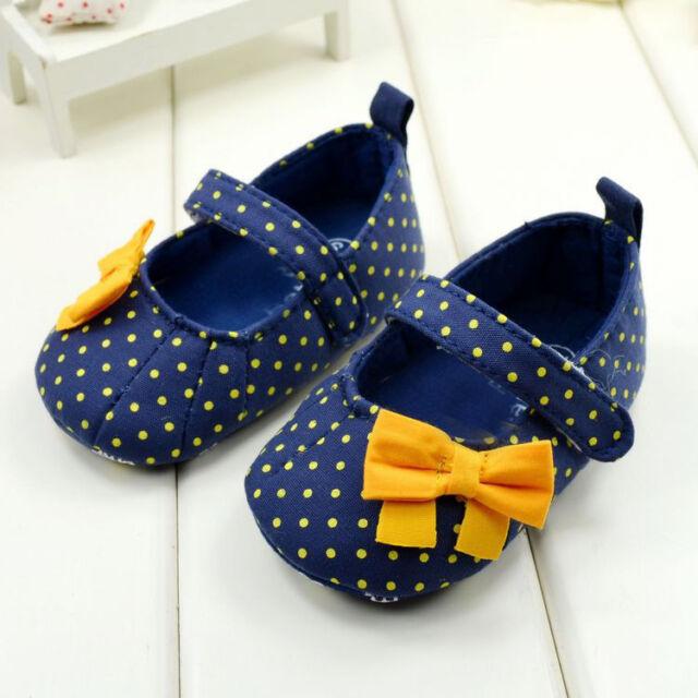 New Toddler Baby Girl Princess Blue Polka Dot Soft Sole Crib Shoes Prewalker