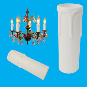 12x-White-Drip-Candle-Sleeve-Wax-Effect-Chandelier-Light-Bulb-Cover-105mm-x-27mm
