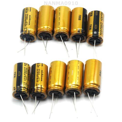 10pcs NEW 2200Uf 63V Audio Specific Electrolytic Capacitors For Audio Nichicon