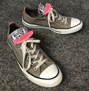 8b6b7d98f8b3 Converse All Star Gray Low Top W Pink Blue Double Tongue Womens ...