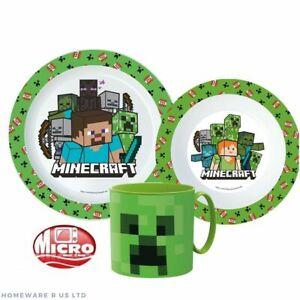 Niños Infantes Minecraft 3PC Cena Desayuno Juego Plato Bol Micro Jarra