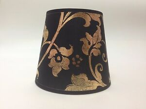 Small Clip On Candle Black Gold Flowered Fabric Lamp Shade Ceiling