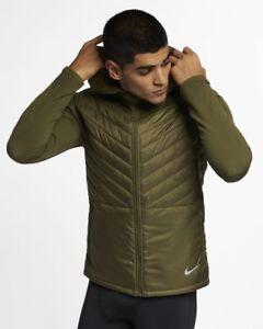 f4c1f8bd5a Nike AeroLayer Men's Hooded Running Jacket L Olive Green Full Zip ...