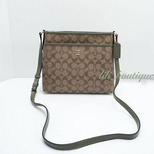 NWT-Coach-F29210-Women-Zip-File-Crossbody-Bag-Signature-PVC-Khaki-Military-Green
