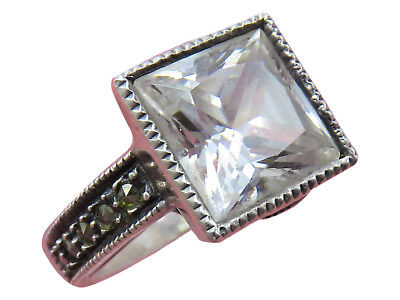 Judith Jack Sterling Silver Cocktail Ring Crystal Rhinestone Sz 6 Marcasites 13h