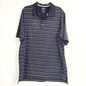 Adidas-Golf-Mens-XL-Polo-Shirt-Climacool-Blue-Stripe-Athletic-Short-Sleeve
