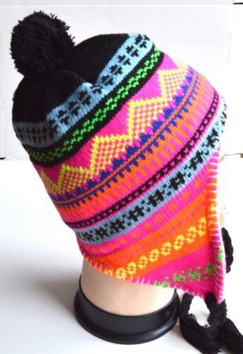 NEW Womens mens Unisex Black blue multi patterned nepal hat winter fashion