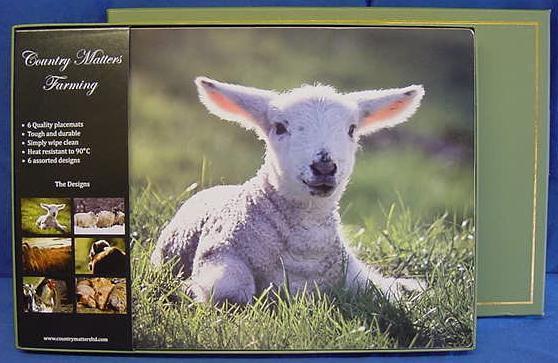 Set di 6 paese questioni Tovagliette-l'allevamento delle pecore mucche suini e polli galletto arrostito