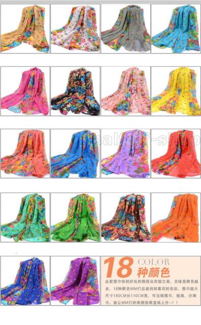NEW Fashion Women Flower Pattern Long Cotton Voile Shawl Scarf Wrap 18 Color