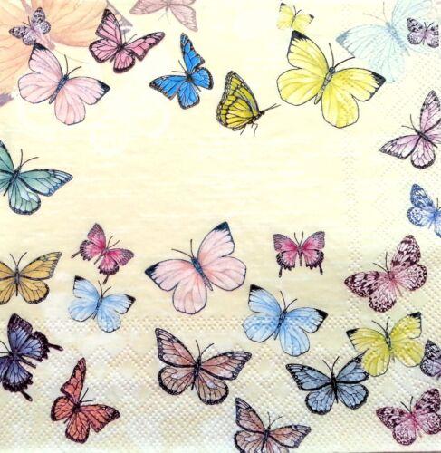 4 Vintage Table Paper Napkins for Decoupage Lunch  Cream Butterflies U//23 ART