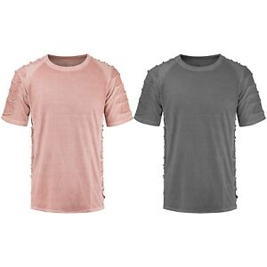NEW-Men-Ripped-Distressed-Solid-Color-T-Shirts-Pink-Gray-Sizes-S-2XL