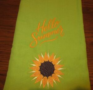 Details about NEW EMBROIDERED HAPPY SUMMER DESIGN LIME GREEN KITCHEN TOWEL