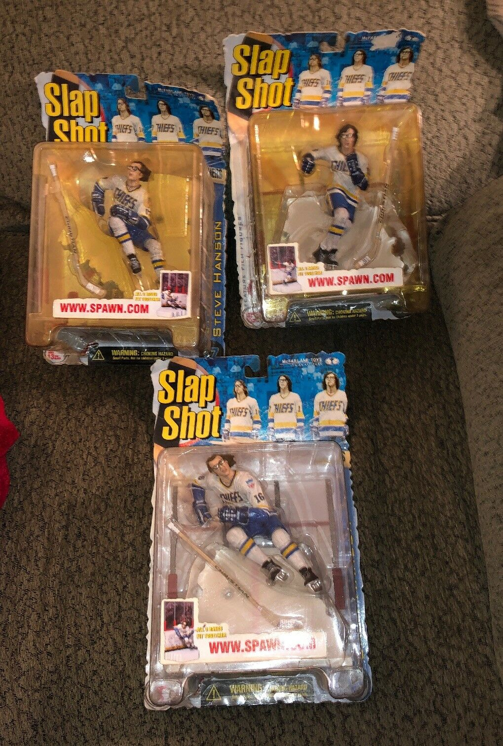 MCFARLANE TOYS SLAP SHOT HANSON BROTHERS ACTION FIGURES-SET OF 3 NEW