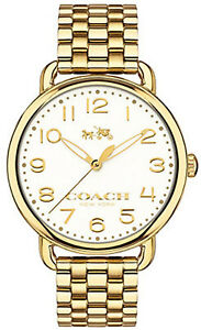 Coach 14502261 Delancey White Dial Gold Plated Stainless Steel Women's Watch 885997158589