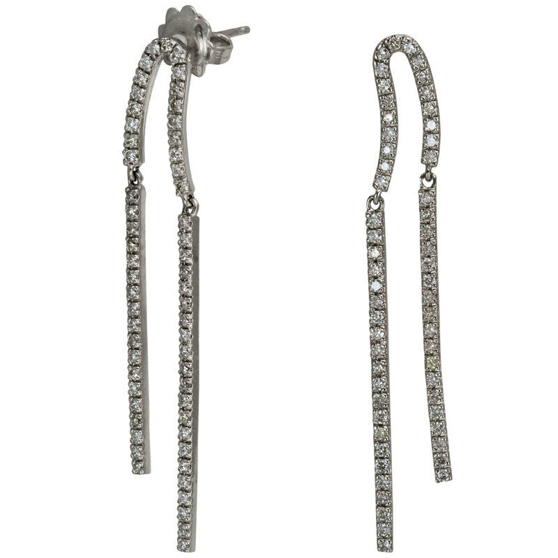 Ladies Diamond Dangling Earrings 1.05ctw 14Kt White gold 4.88 GRAMS