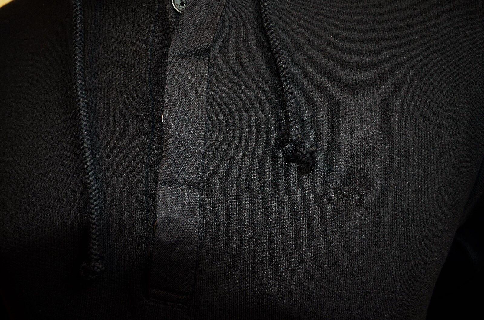Raf By Simons Schwarze Baumwolle Kapuzenpullover Kapuzenpullover Kapuzenpullover mit Eingestickten Logo S S 7c1d39
