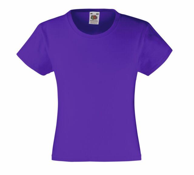 bb87432d322e8 Fruit of the Loom coton Uni Enfants Filles T-shirt feminin compatible avec  7 - 8 ans Violet