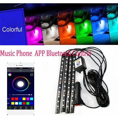 5050 12 LED RGB Interior Light Car Neon Strip Lamp Music Phone Bluetooth Control