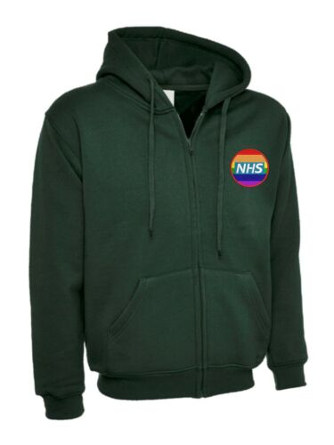 National Health Services Embroidered Rainbow Circle Badge NHS Zip Hoodie XS-3XL