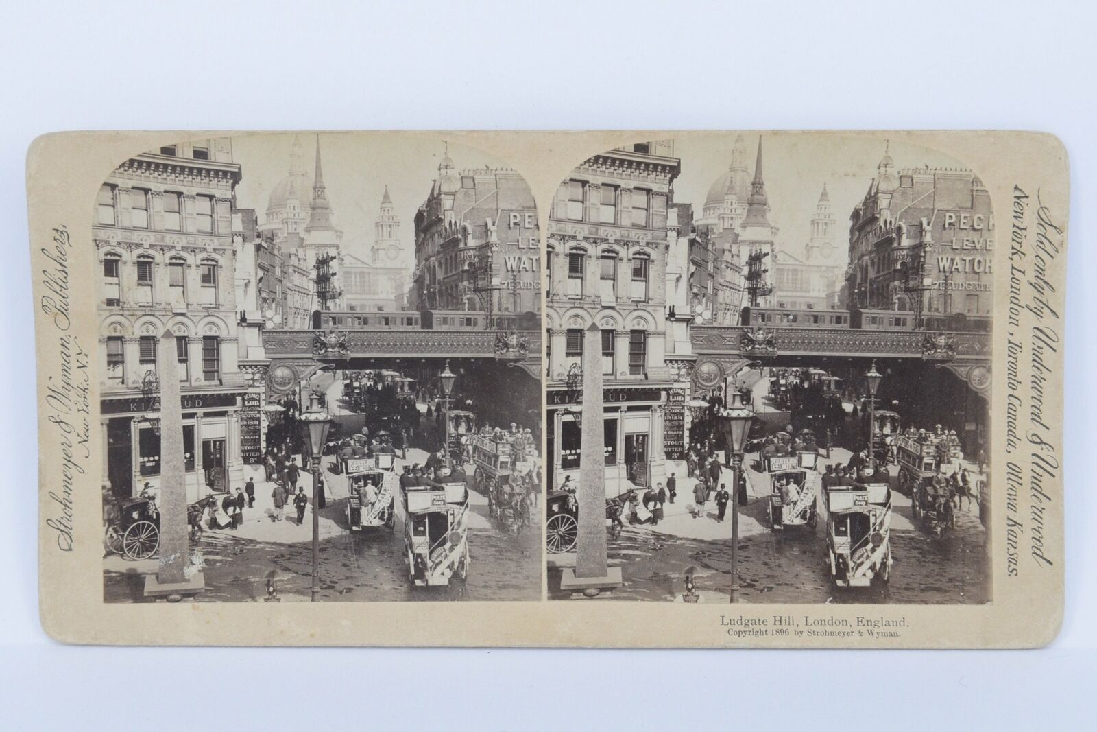 PHOTO STEREO VINTAGE Ludgate Hill London England 1896 Professionally c...