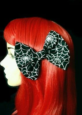"4""  Black GLOW IN THE DARK Cobweb, spider hair bow clip. Punk. Halloween. Goth"