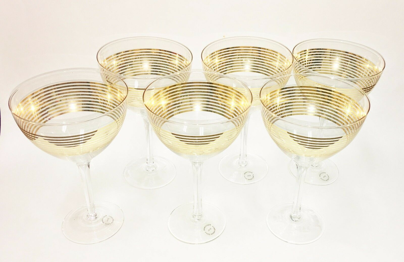 NEW SET OF SIX 6 METALLIC or STRIPE + CLEAR WIDE WINE GLASS+STEM+BASE,GOBLET