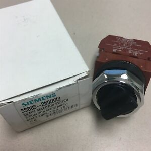 NEW-Siemens-3SB03-2MKBX3-30mm-Selector-Switch-2-Pos-Maintained-Black-Knob-S10