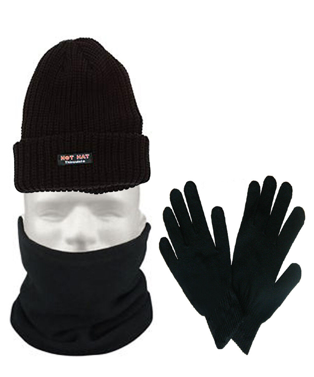 Mens 3 Piece Thermal Set 4.7 TOG Beanie Hat & Thermal Glove Neck Warmer Gift Set