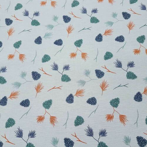 Tela de algodón METERWARE azul claro piñas de abeto agujas tela decorativa cortina de tela