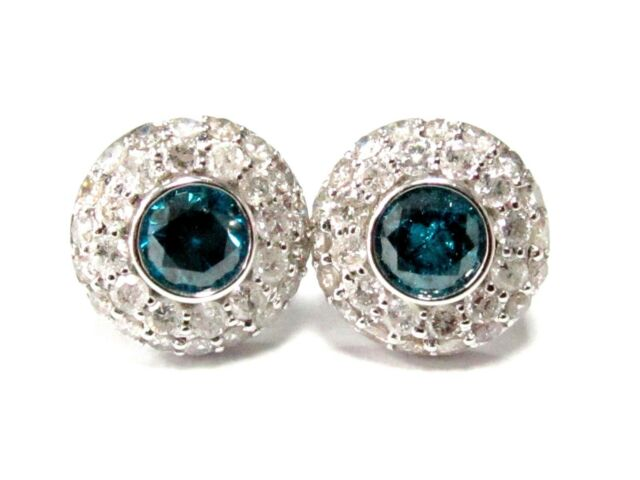 Handmade 2.20 TCW Round Cut Blue & White Diamond Stud Earrings 14k White Gold