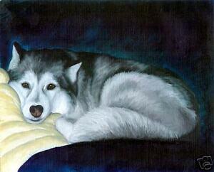 SIBERIAN HUSKY Dog Art PRINT of Original Oil Painting