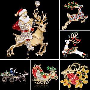 Fashion-Christmas-Santa-Claus-Elk-Crystal-Enamel-Brooch-Pin-Women-Xmas-Jewelry