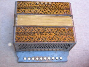 """Nice old Hohner 1 row  diatonic button accordion in """"C"""""""