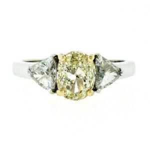Neuf-14k-Or-1-80ctw-GIA-Ovale-Jaune-Diamant-Solitaire-Trillion-Fiancailles-Bague