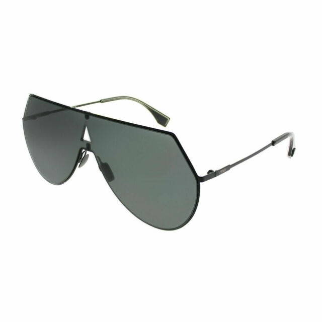 e7e4b9eeaca Authentic Fendi Eyeline FF 0193S 807 IR Black Metal Shield Sunglasses Grey  Lens